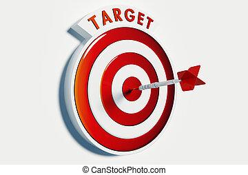 Dart hitting the bullseye of a red target