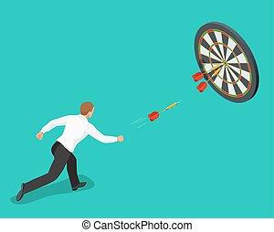 target., apartamento, isometric, apontar, illustration., negócio, concept., idéia, bater, alto, vetorial, alvo, homem negócios, 3d, centro