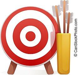 Target arrow icon, cartoon style