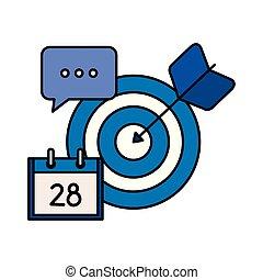 target arrow success with calendar and speech bubble