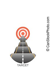 Target at end of bumpy road going to goal vector - Red...