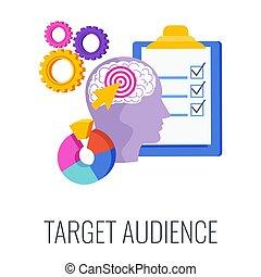 Target audience. Advertising and marketing strategies. Flat ...