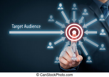 Target audience concept. Businessman click on target, ...
