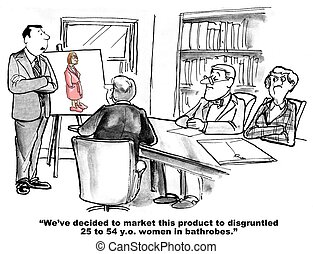Target Audience - Business cartoon about marketing defining...