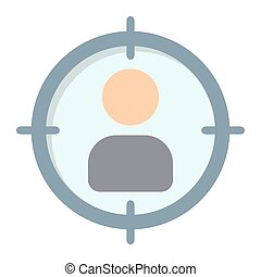 Target audience flat icon, seo and development, vector graphics, a colorful solid pattern on a white background, eps 10.