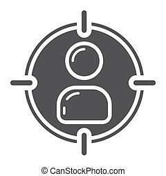 Target audience glyph icon, seo and development, vector graphics, a solid pattern on a white background, eps 10.