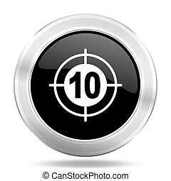 target black icon, metallic design internet button, web and mobile app illustration