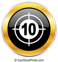 Target black web icon with golden border isolated on white background. Round glossy button.