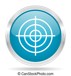 target blue glossy metallic circle modern web icon on white background