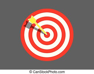 Target board with arrow in the center vector illustration.