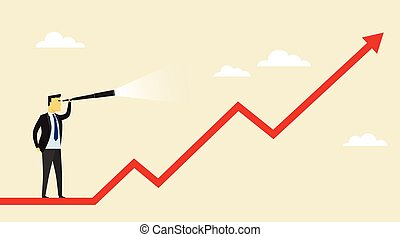 target., busca, telescópio, business., possibilidades, advantages, olha, homem