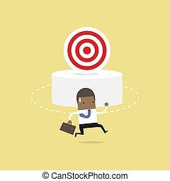target., business, concept., boîte, africaine, pas, homme affaires, trouver
