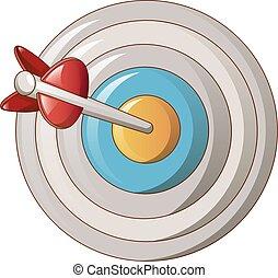 Target circle icon, cartoon style