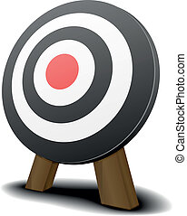 Target - illustration of a black and white target with a red...