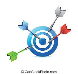 target., colpire, illustrazione, uno, soltanto, disegno