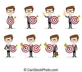 target., conceito, success., ilustração negócio, vetorial, homem