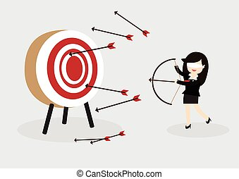 Blindfold business woman try to hit a target