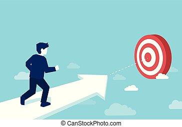 target., corrida homem negócios, vetorial