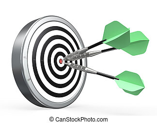 Target - Dartboard with Green Arrows X3 in the center.
