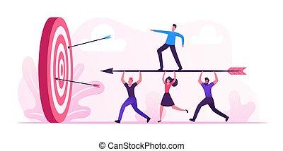 target., dessin animé, plat, buts, debout, homme affaires, concept., porter, illustration, flèche, courant, tâche, but, solution, équipe, business, il, vecteur, businesspeople, défi, énorme, mission, accomplissement
