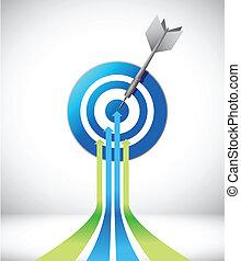 target., disegno, freccia, illustrazione, condottiero
