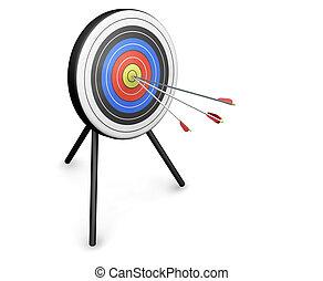 Target - 3D render of arrows hitting a target