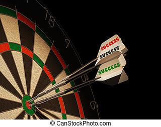 target., drei, dartboard, zentrieren, dartpfeile