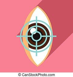 Target eye examination icon, flat style - Target eye ...