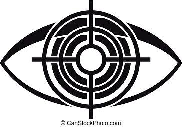 Target eye examination icon, simple style - Target eye ...