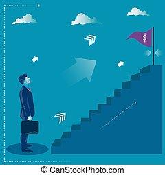 target., ficar, seu, negócio, alcançar, goal., conceito, ilustração, vetorial, frente, homem negócios, escadas
