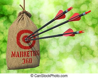 target., flèches, succès, commercialisation, -, 360, rouges