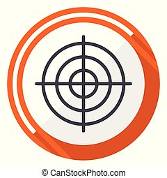 Target flat design vector web icon. Round orange internet button isolated on white background.