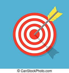 Target with arrow in the bullseye. Vintage style vector illustration. Idea Competition winning, Achievement, Victory and Business Success. Enjoy