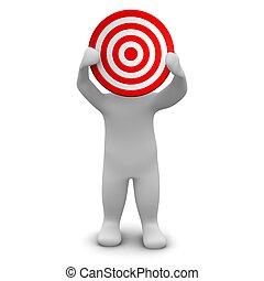 target., gereproduceerd, illustration., vasthouden, 3d, rood, man