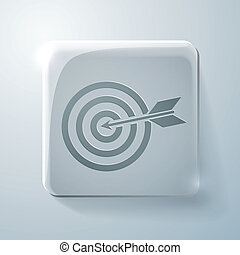 target. Glass square icon