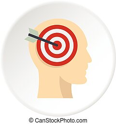 Target goal in human head icon circle