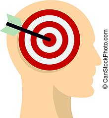 Target goal in human head icon isolated