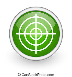 target green circle glossy web icon on white background