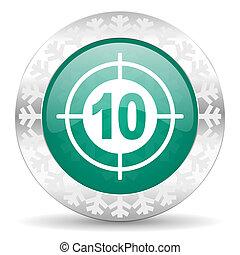 target green icon, christmas button