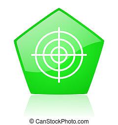 target green pentagon web glossy icon