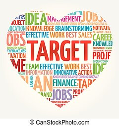 Target heart word cloud collage