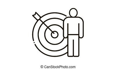 target hit Icon Animation. black target hit animated icon on white background