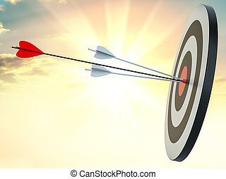 Target hit in center by arrows