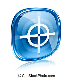 target icon blue glass, isolated on white background.