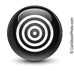 Target icon glassy black round button
