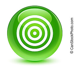 Target icon glassy green round button