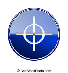 target icon glossy blue, isolated on white background.