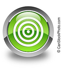 Target icon glossy green round button