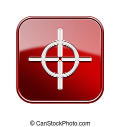 target icon glossy red, isolated on white background