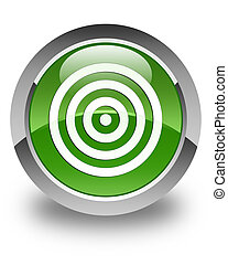 Target icon glossy soft green round button
